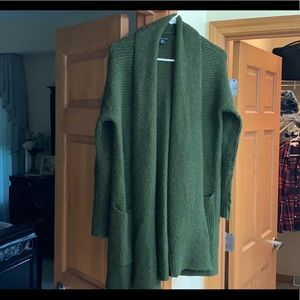 American Eagle. Hunter Green Open Front Cardigan